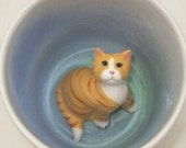 Cat Lover Mug, Yellow Tabby Cat Coffee Mug, Surprise Cup (Made to Order)
