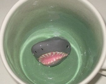 Shark Mug, Shark Coffee Mug, Hidden Shark in Surprise Mug, Handmade Animal Mug (Made to Order)