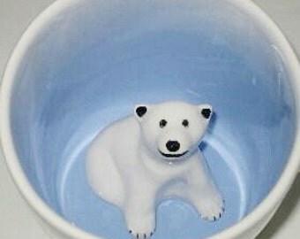 Polar Bear Mug, Polar Bear Coffee Mug, Polar Bear Cup, Polar Bear Surprise Mug,  Hidden Animal Mug (Made to Order)
