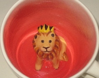 Lion King Coffee Mug, Hidden Animal Mug, Surprise Cup (Made to Order)