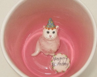 Birthday Cat Surprise Mug (Made to Order)