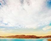 Nature Photograph, fine art, zen, meditation lake water textured, color dramatic landscape clouds wall art home decor. 'Daydream Away '