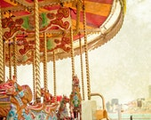 CLEARANCE SALE Carnival Photograph 8x10 fine art merry-go-round colorful, whimsical, red nursery decor,wall art, horse, carousel