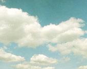 Clouds Photo. sky. modern art. vintage feel, retro boho. blue sky. baby blue, nursery art Peaceful zen heaven 8x10