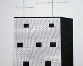 Pen Drawing - Original -- Building -- FREE SHIPPING