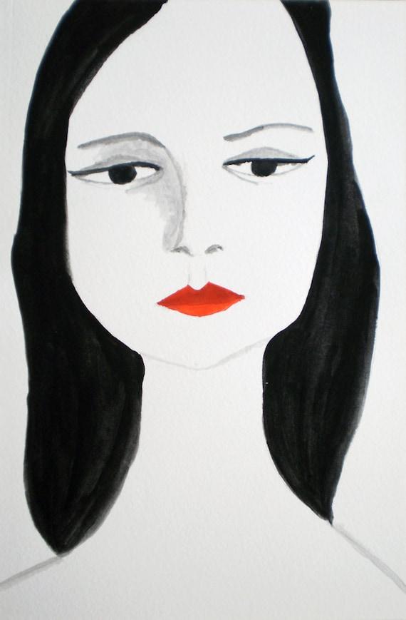 Woman -- Fashion Tempera Illustration - Original - Femme Fatale III