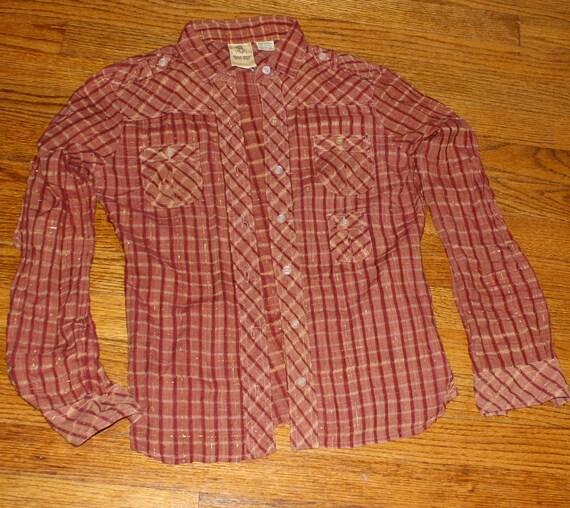 vintage shirt rust XS sparkle gold thread button plaid 60s sheer western