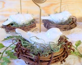 Table Number Holders, Place Card Holders, Wire, Photo Holders, Birds, Nests, Table Numbers, Place Cards - Set of 4