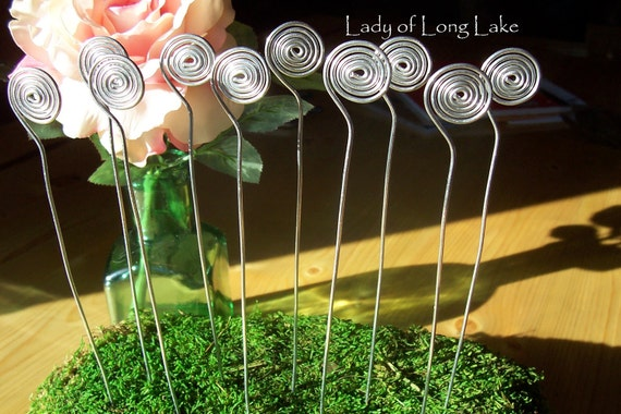 CUSTOM ORDER for TINA - Spiral Wire Wedding Place Card Holders, Wedding Table Number Holders, Photo Holder, Plant Picks - Set of 10 Silver