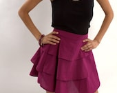 Handmade Dark Fuschia/Plum Three Tiered Red Skirt, Abstract Print - Available in Small Medium or Large