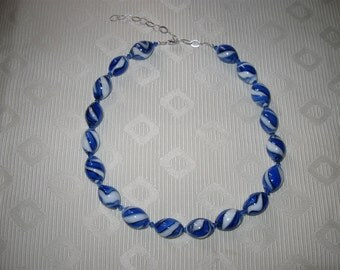 Blue and White Swirl Glass Bead Necklace