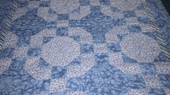 Shades of Blue Patchwork Lap Quilt