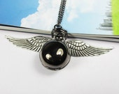 Harry Potter Pocket Watch Necklace Locket Gunmetal Black with Antique Silver wings