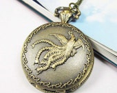 Antique Steampunk Phoenix Bird Pocket Watch Locket Necklace Peacock Pendants
