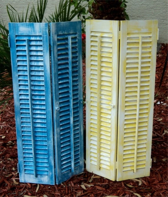 Beach-y, Up Cycled Wood Shutters, Turquoise And Yellow