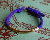 Purple Bracelet with Gold Tube