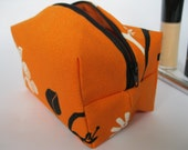 SALE - CLOSING DOWN. Make up bag, box, tangerine and black, Connie. Ready to ship.