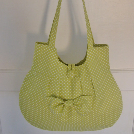 SPRING SALE. 50% OFF. Bag, purse, lime green spotty with bow, Dotty