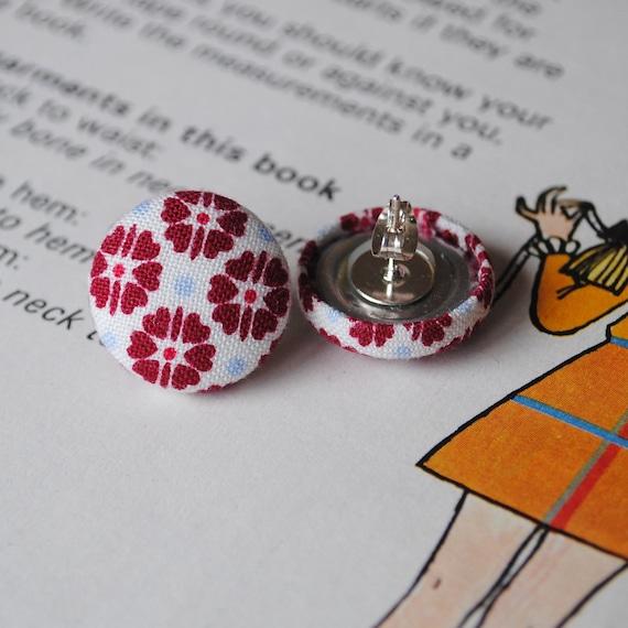 CLOSING DOWN SALE. Earrings, Retro Flower Button fabric