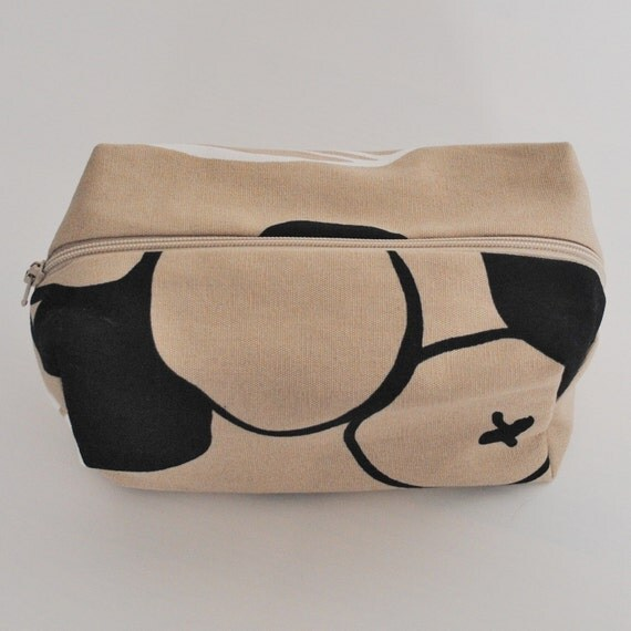 Make up bag, box, cream, beige and black, Connie. Ready to ship.