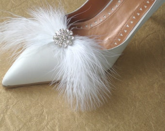 Luxe Bridal  Feather Shoe Clip... Romantic Marabou and Dazzling  Rhinestones