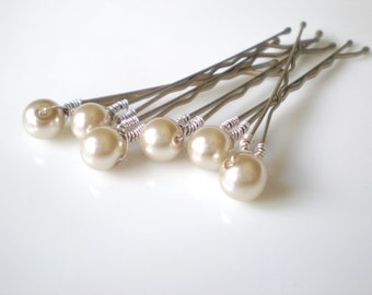 Taupe Bridal Hair Pins. Bridal Pearl Hair Pins. SET of 6. Bride Maid Gift. Flower Girl. Mother of the Bride