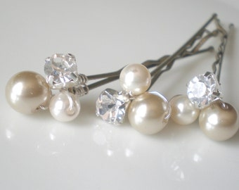 Bridal Pearl Hair Jewelry. Taupe Ivory Pearls. Rhinestones. GIFT . Hair Pins. Prom. Bride Maids. Shower Gift