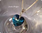 Bermuda Blue Swarovski Crystal Heart Charm and sterling silver wedding Jewellery, Brides Jewellery, bridesmaids gifts, JewlesDesigns on Etsy