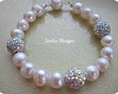 Bridal Jewelry, Fresh water pearls, Swarovski Crystal balls, wedding bracelet, bridal party bracelet, Jewellery, Brides Jewellery