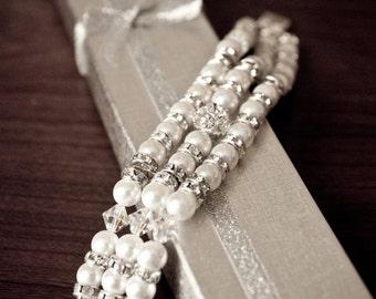 Swarovski 3 strand Pearl and Crystal Wedding Bracelet - Brides, trple strand, Bridal Jewellery handmade  by JewlesDesigns on etsy