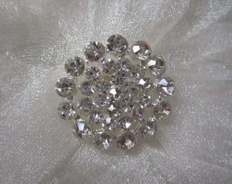 10 Sparkling Crystal Rhinestone Buttons, Size 25mm