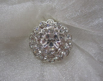 10 Sparkling Crystal Rhinestone Flower Buttons, Size 22mm