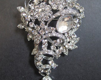 1 Crystal Rhinestone Flower perfect for hair comb, headband, pendant, tiara, bracelet, Size 53mm x 95mm