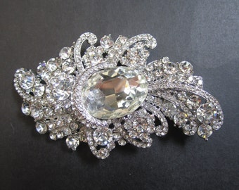 1 Crystal Rhinestone Flower perfect for hair comb, headband, pendant, tiara, bracelet, Size 98mm x 57mm