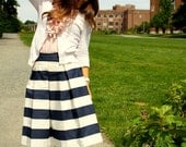 Navy Blue Awning Striped Skirt.