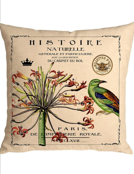 Create a designer pillow Totebag French Paris ephemera bird flower instant digital download image for iron on fabric burlap transfer No. C30