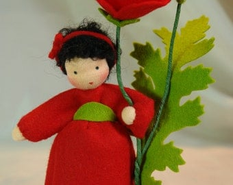 Red Poppy - Flower Child - Waldorf  Inspired - Nature Table