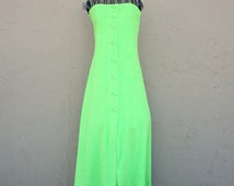 1970s Neon green strapless terrycloth swimsuit coverup or beach summer dress. By Action Scene. Size M or L 6 8 10