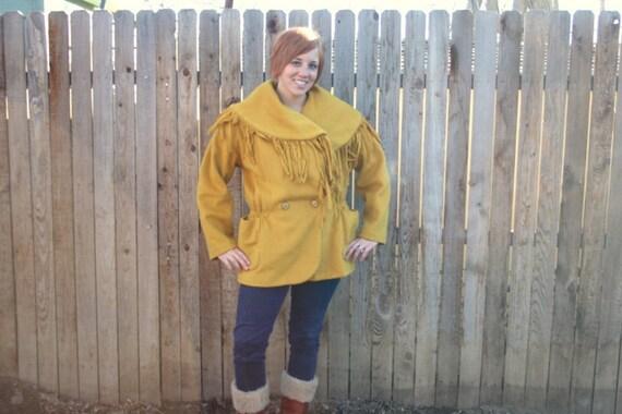 SALE 80s 1980s mustard yellow wool fringe coat. Hippie boho style. Size large 8-10-12