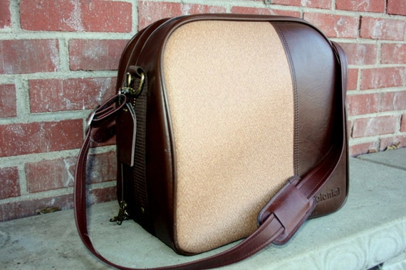 70s 1970s retro  brown and cream vinyl Colonial carry on suitcase, luggage bowling messenger bag. Unisex mens and womens
