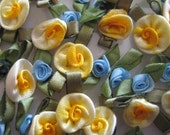 Yellow and Blue Satin Ribbon Rose Flowers with leaves Appliqués for Sewing, Crafting, Doll Clothing - 48 pieces