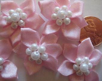 12 pcs Pink Satin Flower 7 Pearls Center for Sewing, Crafting, Headbands, Girl Dress, 1.25 inches