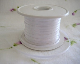 """1/8"""" White Satin Ribbon for Crafting, Tags, Baby Shower, Party Favors, Hair Accessories, 10 yards"""