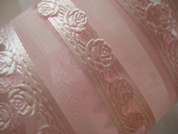 Pink Lace Ribbon framing a sheer channel  for Sewing, Girl Clothes, Doll Clothes,Decorating, Crafting - 1 inch / 25 mm wide