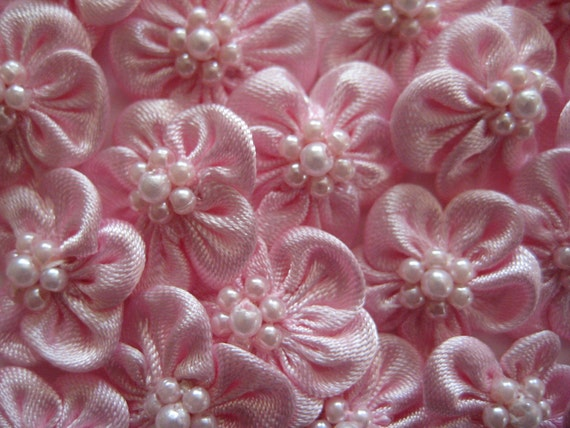 18 pcs Pink Satin Flower Appliques with 7 Pearls Center for Girls' Clothing, Crafting, Sewing, Doll Clothes, 3/4 inch (20 mm)