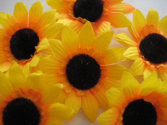 Sunflower Appliques - For Gift Wrapping or on a Little Girl's Bedroom Wall 3 inches 12 pieces