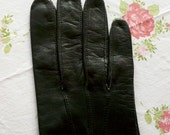 SALE - Vintage 1950's Lambskin Black Day Gloves - Perrin's, Made In England - Sz 6.5