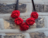Red Fabric Flower Necklace Rosettes