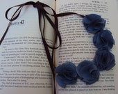 Blue Fabric Flower Necklace tied with Ribbon