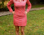 Red and White GINGHAM Babydoll Country-Western Dress Circa 1960s